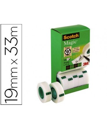 CINTA ADHESIVA SCOTCH MAGIC 19MM X 33 MT PACK DE 14 ROLLOS CON DISPENSADOR DE CARTON