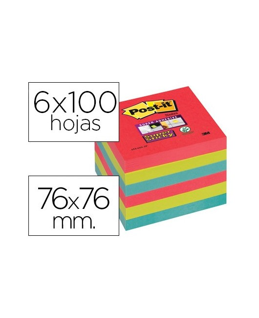 BLOC DE NOTAS ADHESIVAS QUITA Y PON POST-IT SUPER STICKY 76X76 MM CON 6 BLOC 2 ROJOS VERDE NEON AZUL