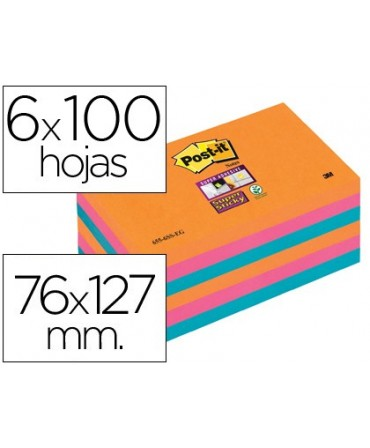 BLOC DE NOTAS ADHESIVAS QUITA Y PON POST-IT SUPER STICKY 76X127 MM CON 6 BLOC 2 ROSA NARANJA NEON AZUL