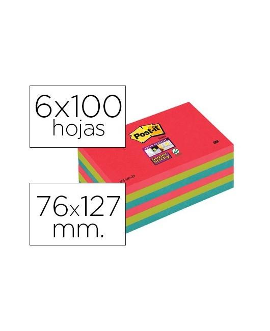 BLOC DE NOTAS ADHESIVAS QUITA Y PON POST-IT SUPER STICKY 76X127 MM CON 6 BLOC 2 ROJO VERDE NEON AZUL
