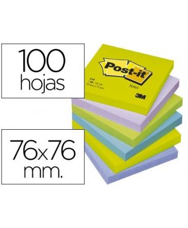 BLOC DE NOTAS ADHESIVAS QUITA Y PON POST-IT 76X76 MM ULTRA INTENSO SURTIDO PACK DE 6 BLOCS