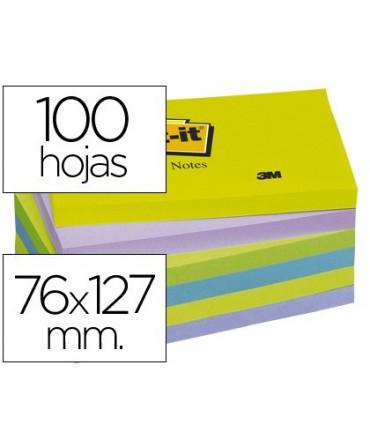 BLOC DE NOTAS ADHESIVAS QUITA Y PON POST-IT 76X127 MM ULTRA INTENSO PACK DE 6 BLOCS SURTIDO