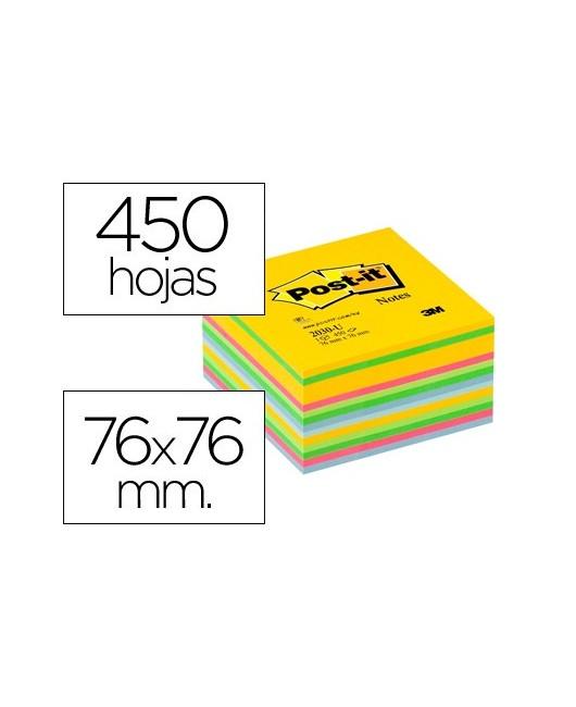 BLOC DE NOTAS ADHESIVAS QUITA Y PON POST-IT 76X76 MM GAMA ULTRA ALEGRIA CUBO DE 450 HOJAS