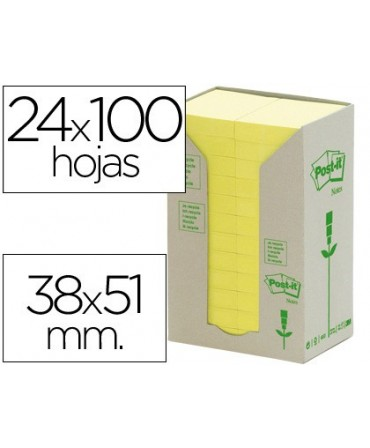BLOC DE NOTAS ADHESIVAS QUITA Y PON RECICLADAS EN TORRE POST-IT 38 X 51 MM 24 BLOCS 653 RECICLADO