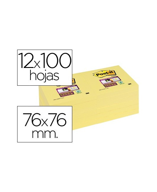 BLOC DE NOTAS ADHESIVAS QUITA Y PON POST-IT SUPER STICKY 76X76 MM CON 12 BLOC AMARILLO CANARIO