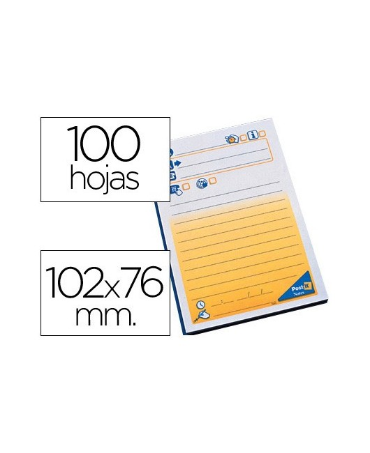 BLOC DE NOTAS ADHESIVAS QUITA Y PON POST-IT CON 100 HOJAS -MENSAJE TELEFONICO -7693-