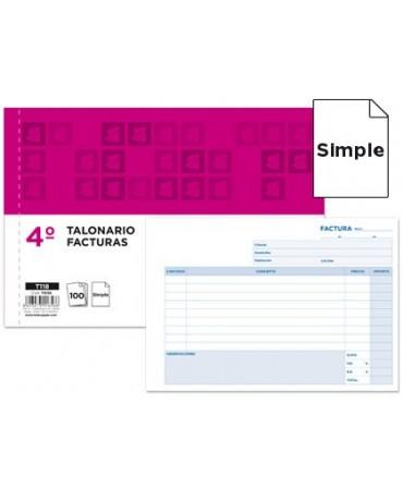 TALONARIO LIDERPAPEL FACTURAS CUARTO ORIGINAL T118 APAISADO CON I.V.A.
