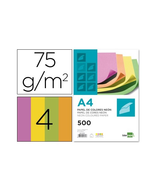 PAPEL COLOR LIDERPAPEL A4 75G/M2 NEON 4 COLORES SURTIDOS PAQUETE DE 500