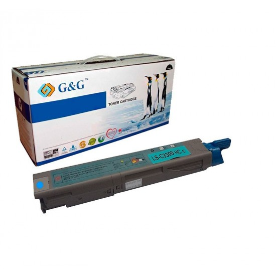 G&G OKI C3300 / C3400/C3450/C3520/C3530/C3600/MC350/MC360 CYAN CARTUCHO DE TONER GENERICO UNIVERSAL