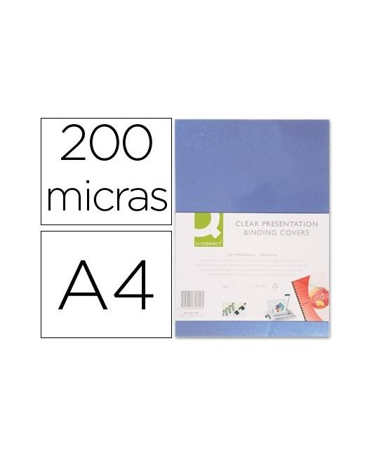 TAPA DE ENCUADERNACION Q-CONNECT PVC DIN A4 INCOLORA 200 MC CAJA DE 100 UNIDADES