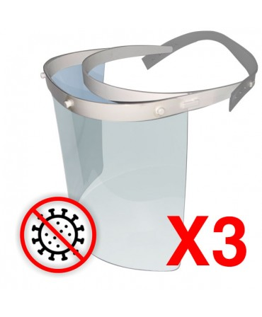 PANTALLA DE PROTECCION FACIAL PVC TRASPARENTE 500 MICRAS PACK 3 UNDS