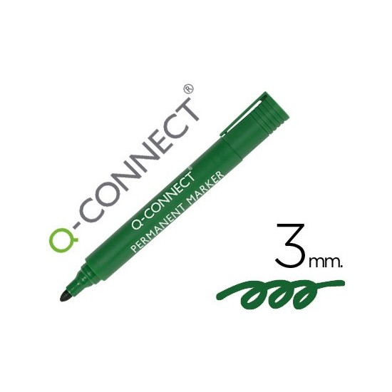 ROTULADOR Q-CONNECT MARCADOR PERMANENTE VERDE PUNTA REDONDA 3.0 MM
