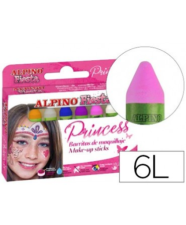 BARRA MAQUILLAJE ALPINO SET DE MAQUILLAJE PRINCESS 6 COLORES