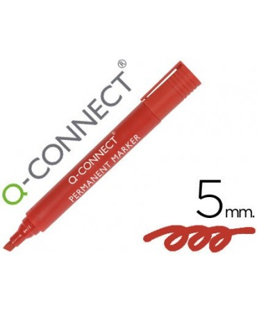 ROTULADOR Q-CONNECT MARCADOR PERMANENTE ROJO PUNTA BISELADA 5.0 MM