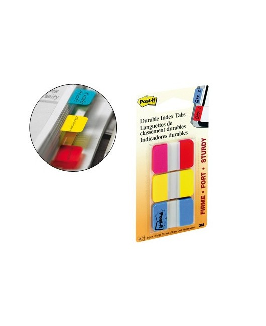 BANDERITAS SEPARADORAS RIGIDAS DISPENSADOR 3 COLORES POST-IT INDEX 686-RYB MEDIANOS22 BANDERITAS POR COLOR