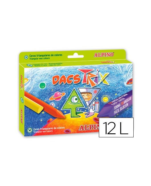LAPICES CERA DACS TRIX TRIANGULCAJA DE 12 COLORES