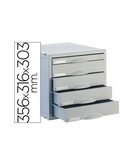 FICHERO CAJONES DE SOBREMESA ARCHIVO 2000 356X316X303 MM 5 CAJONES COLOR GRIS 4 DE 52MM Y 1 DE 22MM