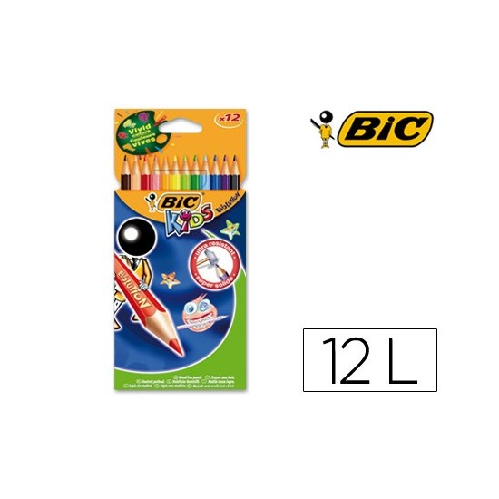 LAPICES DE COLORES BIC KID EVOLUTION ESTUCHE DE 12 COLORES SURTIDOS MINA ULTRA RESISTENTE