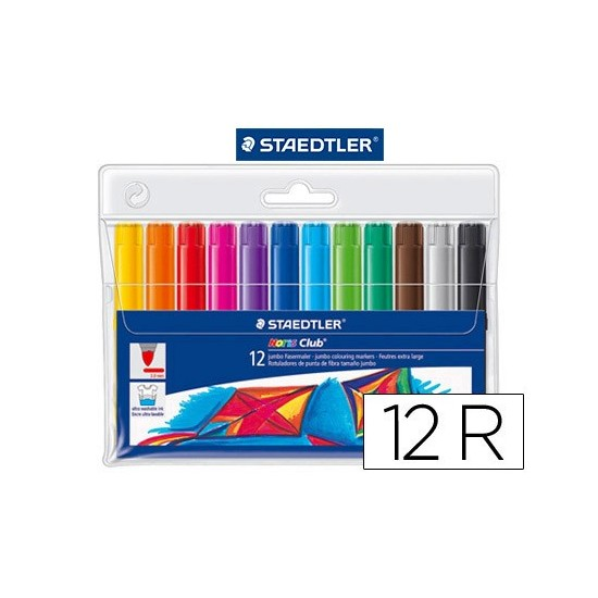 ROTULADOR STAEDTLER COLOR JUMBO TRAZO 3 MM -ESTUCHE DE 12 COLORES SURTIDOS