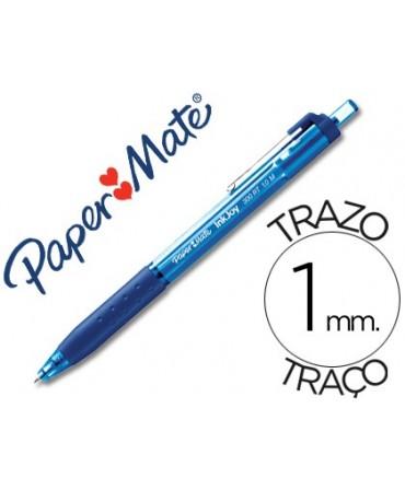 BOLIGRAFO PAPER MATE INKJOY 300 RT PUNTA MEDIA TRAZO 1MM RETRACTIL CLIPS METALICO SUJECION CAUCHO COLOR AZUL