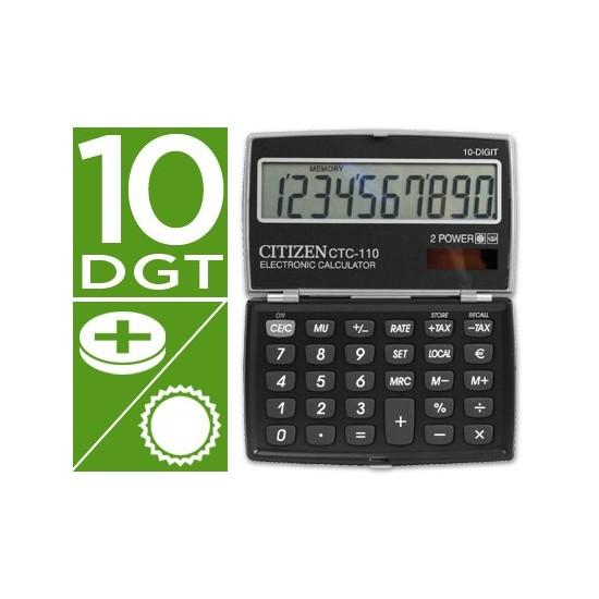 CALCULADORA CITIZEN BOLSILLO CTC-110 BKWB 10 DIGITOS NEGRA