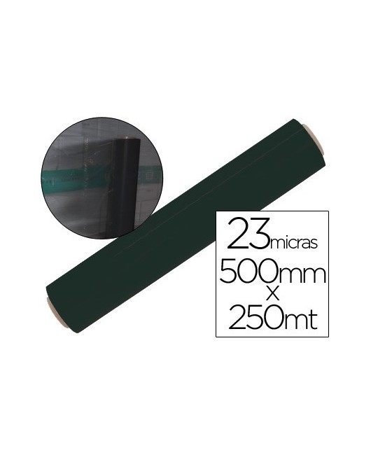 FILM EXTENSIBLE MANUAL BOBINA -ANCHO 500 MM. -LARGO 250 MT ESPESOR 23 MICRAS NEGRO