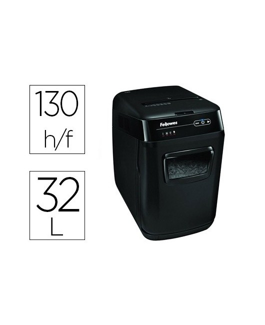 DESTRUCTORA DE DOCUMENTOS FELLOWES AUTOMAX 130C CAPACIDAD DE CORTE 130 HOJAS DESTRUYE GRAPAS TARJETAS