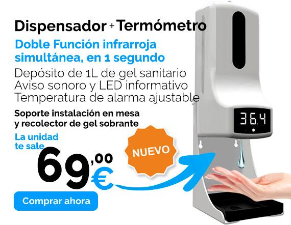 dispensador de gel y termometro infrarrojo